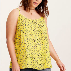 1X Torrid Ditsy Sunny Yellow Tie Back Swing Cami